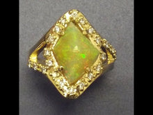 Load and play video in Gallery viewer, 18k yellow gold Ring-Opal and Diamonds-One of a kind.