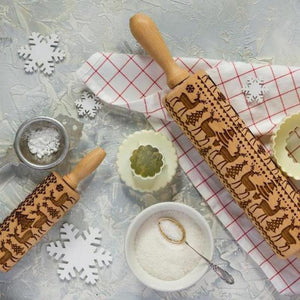 Christmas Moose Printed Cane Birch 3D Rolling Pin