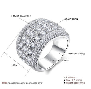 Big Silver CZ Zircon Stone Ring