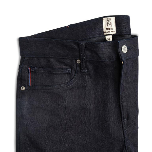 """THE PEN"" SLIM JEANS INDIGO BLACK RAW 10.5OZ"