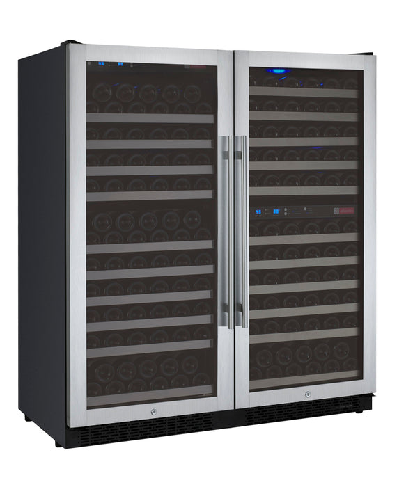 "Allavino 47"" Wide FlexCount Series 249 Bottle Three Zone Stainless Steel Side-by-Side Wine Refrigerator"