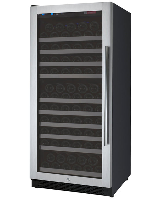 "Allavino 24"" Wide FlexCount II Tru-Vino 128 Bottle Single Zone Stainless Steel Wine Refrigerator"