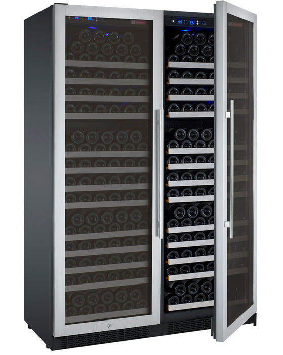 "Allavino 47"" Wide FlexCount Series 354 Bottle Dual Zone Stainless Steel Side-by-Side Wine Refrigerator"