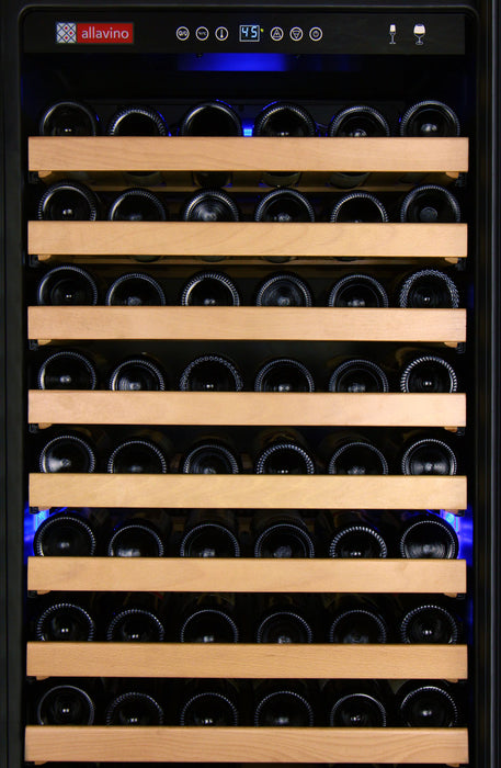 "Allavino 48"" Wide FlexCount Classic 348 Bottle Dual Zone Stainless Steel Side-by-Side Wine Refrigerator"