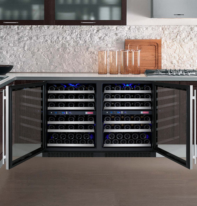 "Allavino 47"" Wide FlexCount Series 112 Bottle Four Zone Stainless Steel Side-by-Side Wine Refrigerator"