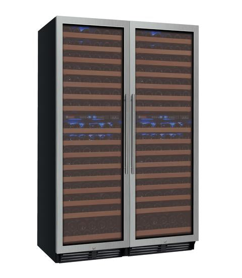 "Allavino 48"" Wide FlexCount Series 344 Bottle Four Zone Stainless Steel Side-by-Side Wine Refrigerator"