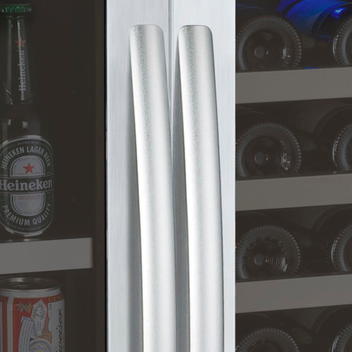 "Allavino 47"" Wide FlexCount Series 56 Bottle/154 Can Dual Zone Stainless Steel Side-by-Side Wine Refrigerator/Beverage Center"