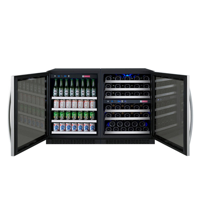 "Allavino 47"" Wide FlexCount Series 56 Bottle/124 Can Stainless Steel Side-by-Side Wine Refrigerator/Beverage Center"