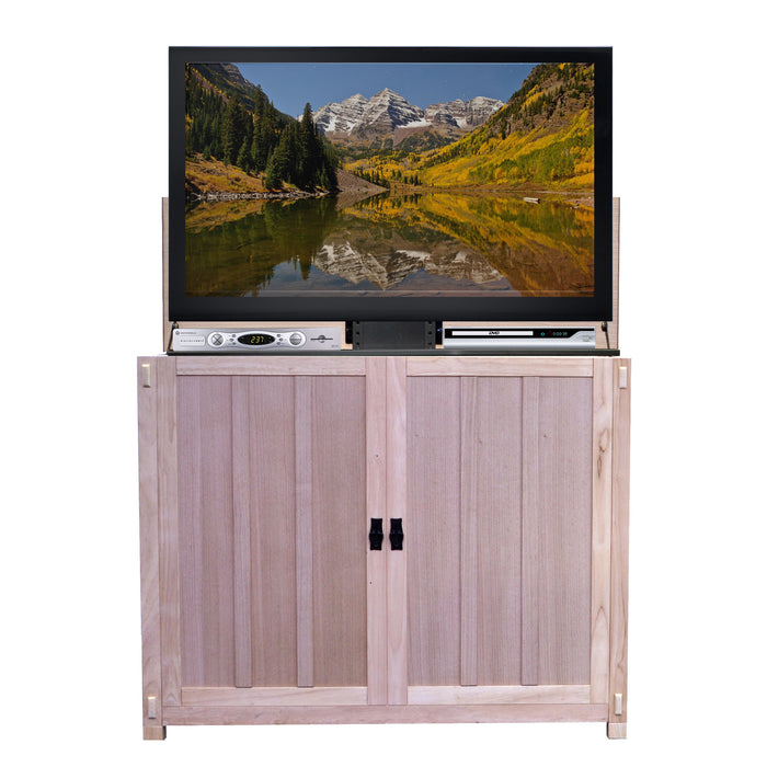 "TV Lift Cabinet for 50"" Flatscreen TVs - Elevate by Touchstone, Unfinished Oak 72106"