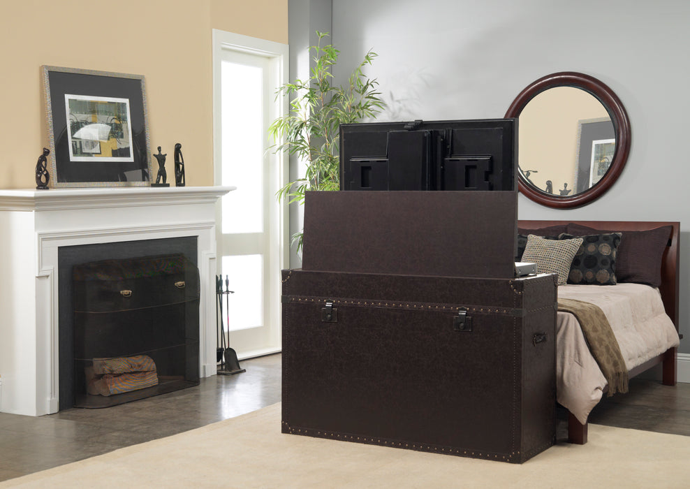 "TV Lift Cabinet for 50"" Flatscreen TVs - Ellis Trunk by Touchstone, Leather 73007"