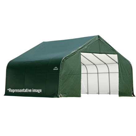 28x28x20 Peak Style Roof Shelter, Grey/Green Cover