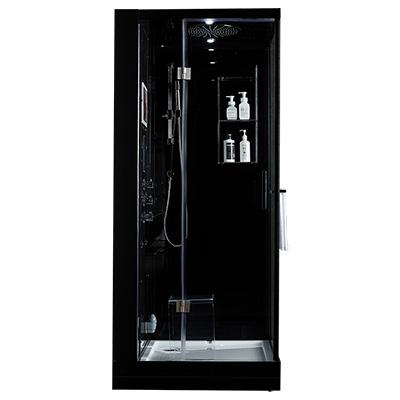 "Maya Bath Arezzo Black-Steam Shower w/ TV - 37"" x 37"" x 88"""