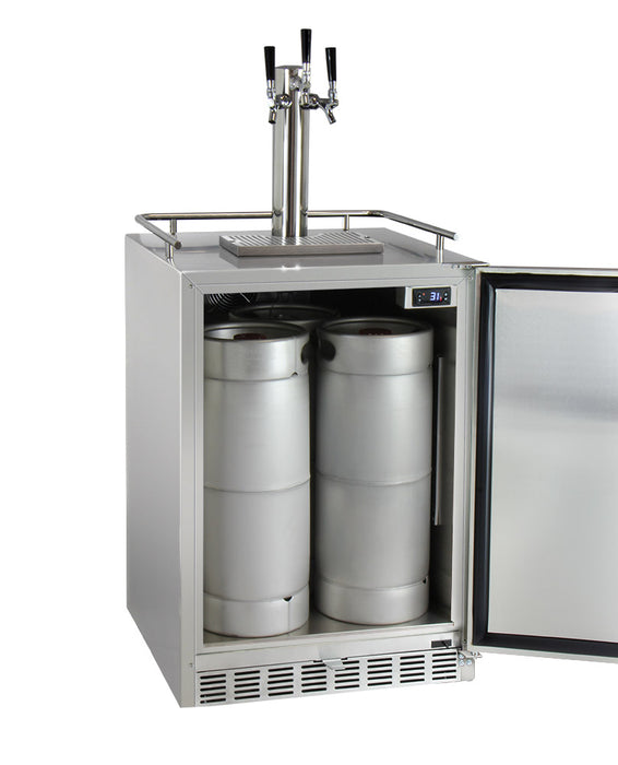 "Kegco 24"" Wide Cold Brew Coffee Triple Tap All Stainless Steel Outdoor Built-In Right Hinge Kegerator"