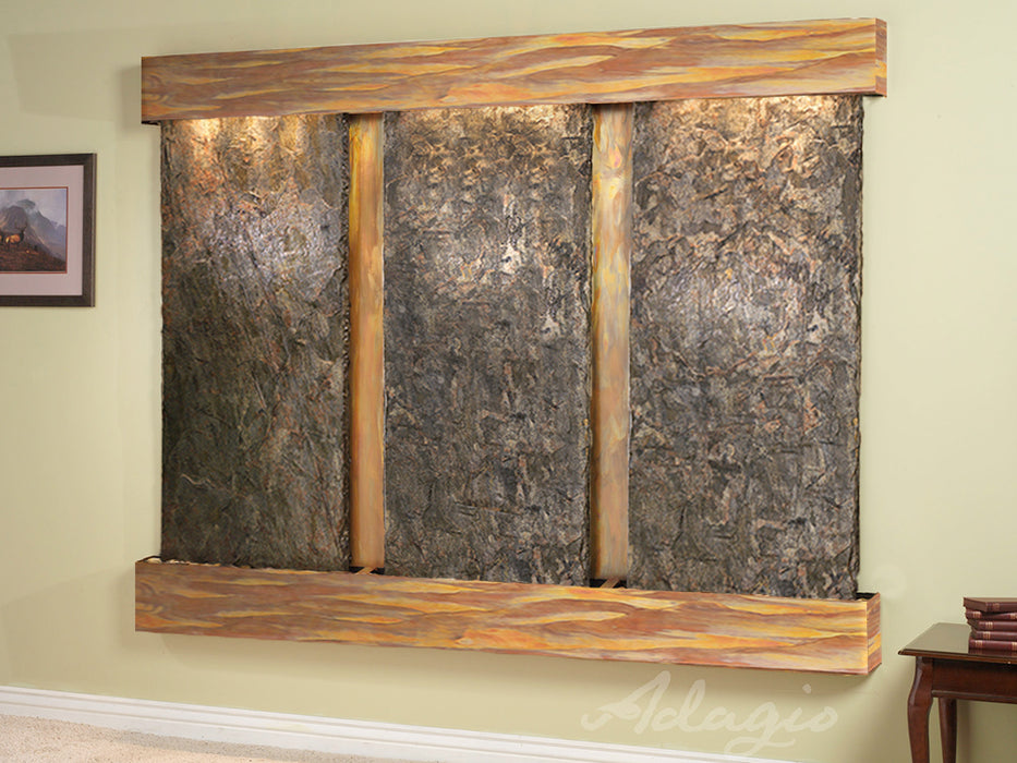 "Adagio Deep Creek Falls - Natural Slate Panel Wall-Mounted Waterfall (91""W x 69""H)"