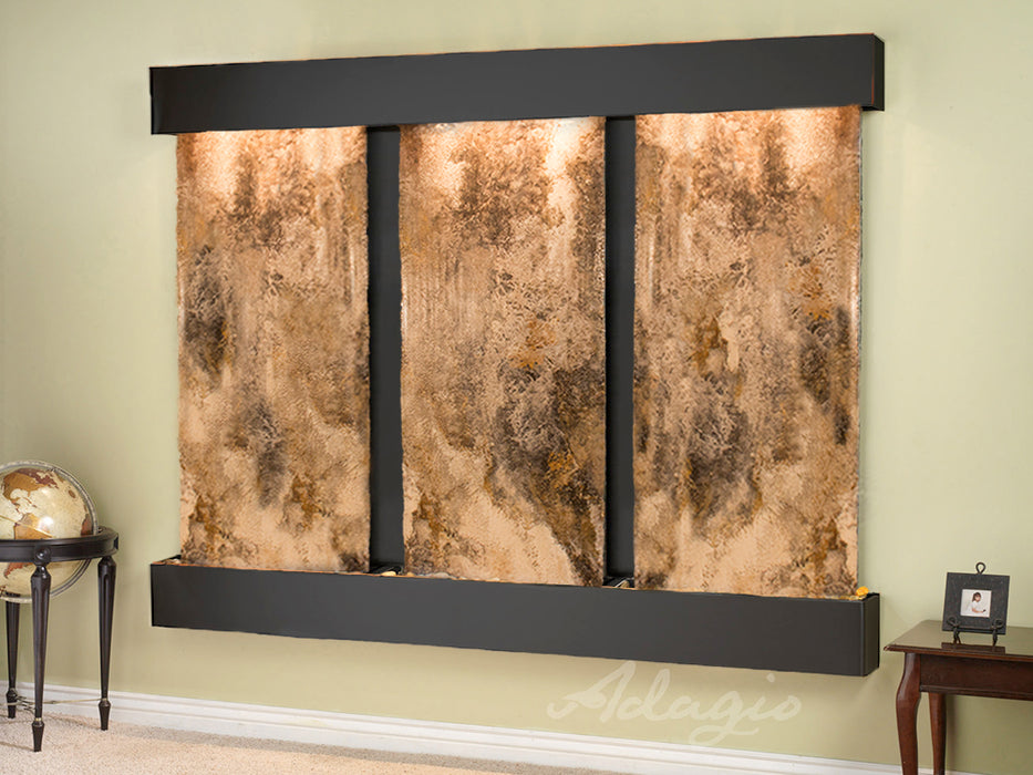 "Adagio Deep Creek Falls - Magnifico Travertine Panel Wall-Mounted Waterfall (91""W x 69""H)"