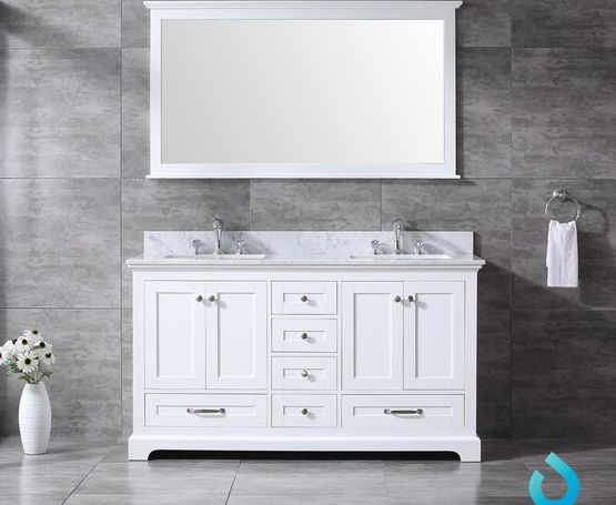 "Lexora Dukes 60"" - White Double Bathroom Vanity, White Carrara Marble Top, White Square Sinks and 58"" Mirror w/ Faucets"