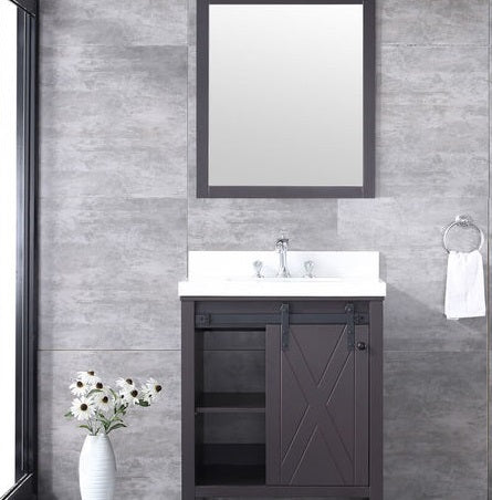 "Marsyas 30"" Brown Single Bathroom Vanity, White Quartz Top, White Square Sink and 28"" Mirror w/ Faucet"