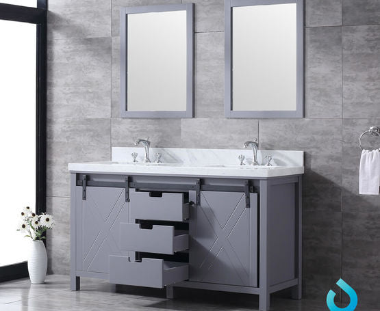 "Lexora Marsyas 60"" - Brown Double Bathroom Vanity (Options: White Quartz Top, White Square Sinks and 24"" Mirrors w/ Faucets)"