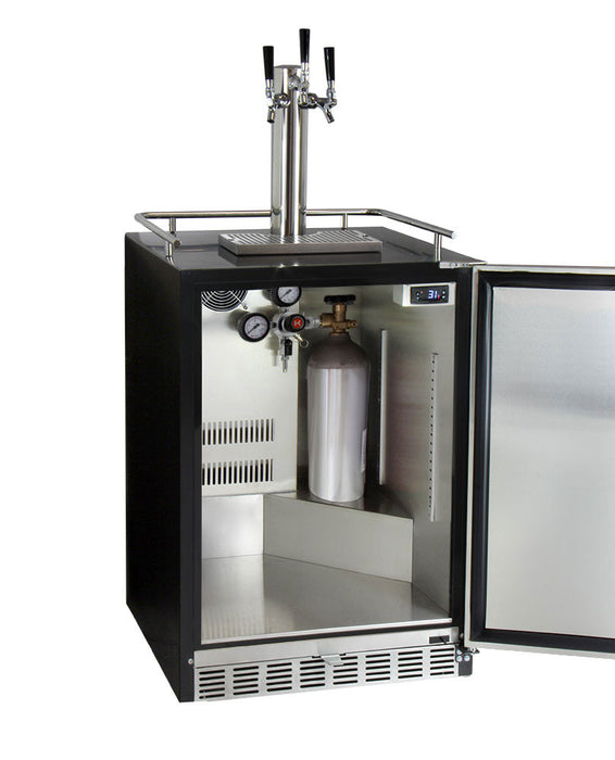 "Kegco 24"" Wide Kombucha Triple Tap Stainless Steel Commercial Built-In Right Hinge Kegerator"