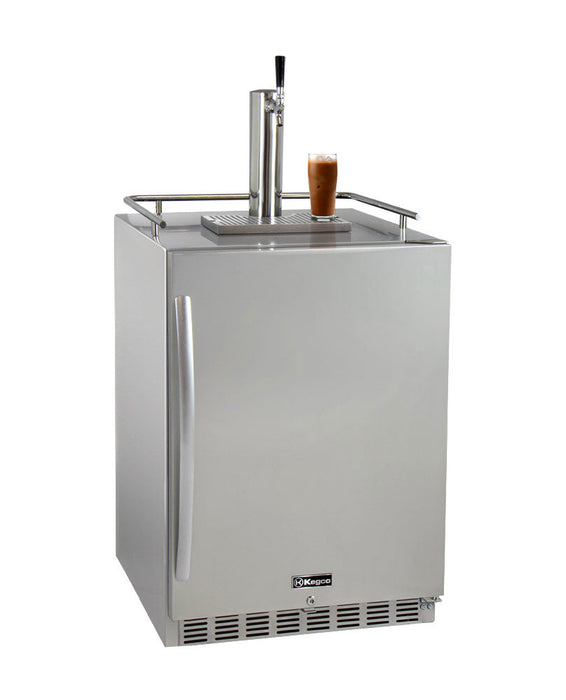 "Kegco 24"" Wide Cold Brew Coffee Single Tap All Stainless Steel Outdoor Built-In Right Hinge Kegerator"