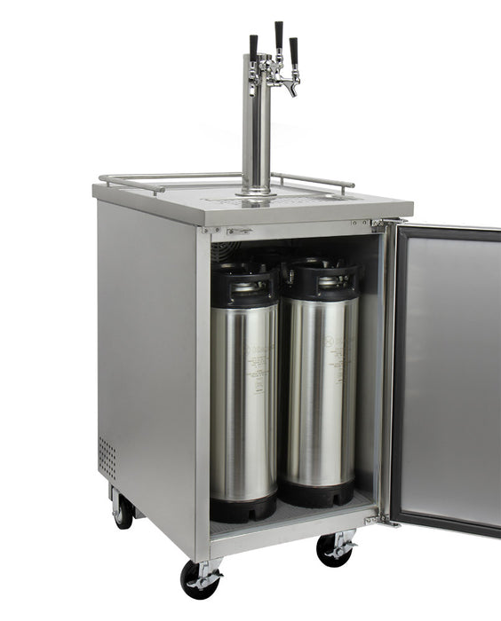 "Kegco 24"" Wide Cold Brew Coffee Triple Tap All Stainless Steel Commercial Kegerator"