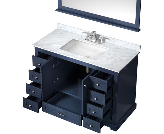 "Lexora Dukes 48"" - Navy Blue Single Bathroom Vanity (Options: White Carrara Marble Top, White Square Sink and 46"" Mirror w/ Faucet)"