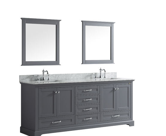 "Lexora Dukes 80"" - Dark Grey Double Bathroom Vanity, White Carrara Marble Top, White Square Sinks and 30"" Mirrors w/ Faucets"