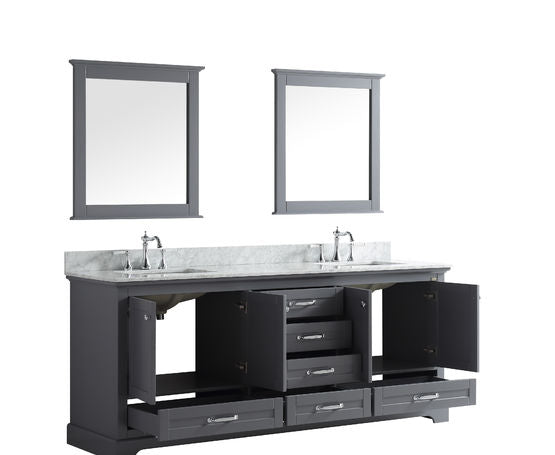 "Lexora Dukes 80"" - Espresso Double Bathroom Vanity, White Carrara Marble Top, White Square Sinks and 30"" Mirrors w/ Faucets"
