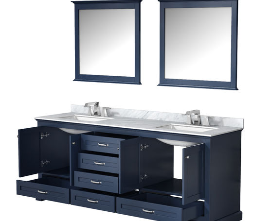 "Lexora Dukes 80"" - Navy Blue Double Bathroom Vanity (Options: White Carrara Marble Top, White Square Sinks and 30"" Mirrors w/ Faucets)"