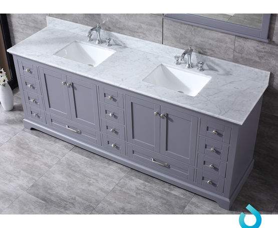 "Lexora Dukes 84""-  Dark Grey Double Bathroom Vanity (Options: White Carrara Marble Top, White Square Sinks and 34"" Mirrors w/ Faucets)"