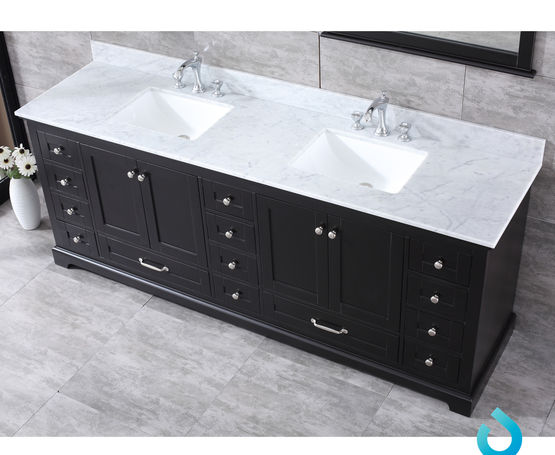 "Lexora Dukes 84"" - Espresso Double Bathroom Vanity (Options: White Carrara Marble Top, White Square Sinks and 34"" Mirrors w/ Faucets)"