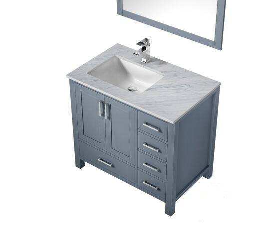 "Lexora Jacques 36"" - Dark Grey Single Bathroom Vanity, White Carrara Marble Top, White Square Sink and 34"" Mirror w/ Faucet - Left Version"