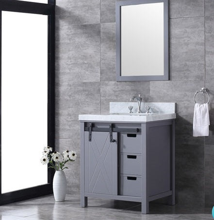 "Lexora Marsyas 30"" - Dark Grey Single Bathroom Vanity (Options: White Carrara Marble Top, White Square Sink and 28"" Mirror w/ Faucet)"