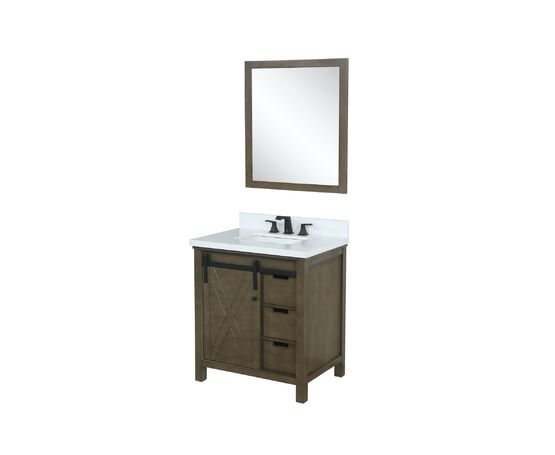 "Lexora Marsyas 30"" - Rustic Brown Single Bathroom Vanity, White Quartz Top, White Square Sink and 28"" Mirror w/ Faucet"