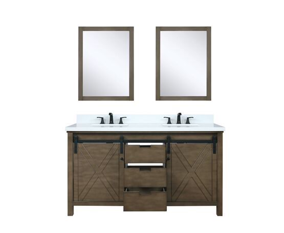 "Lexora Marsyas 60"" - Rustic Brown Double Bathroom Vanity, White Quartz Top, White Square Sinks and 24"" Mirrors w/ Faucets"