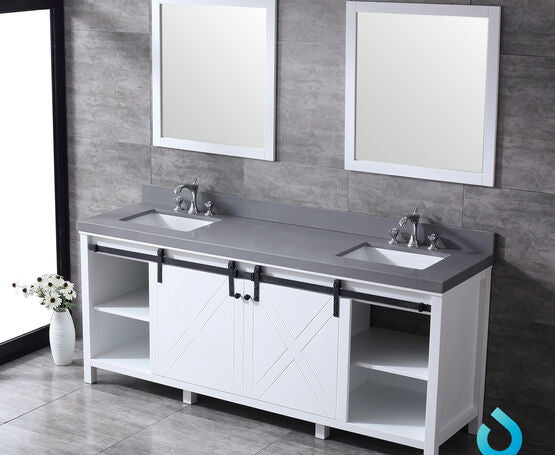 "Lexora Marsyas 80"" - Double Bathroom Vanity, Grey Quartz Top, White Square Sinks and 30"" Mirrors w/ Faucets"