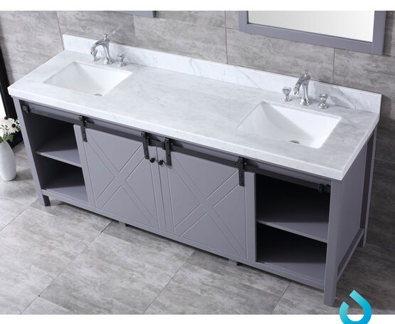 "Lexora Marsyas 80"" - Dark Grey Double Bathroom Vanity, White Carrara Marble Top, White Square Sinks and 30"" Mirrors w/ Faucets"