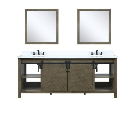 "Lexora Marsyas 80"" - Rustic Brown Double Bathroom Vanity, White Quartz Top, White Square Sinks and 30"" Mirrors w/ Faucets"