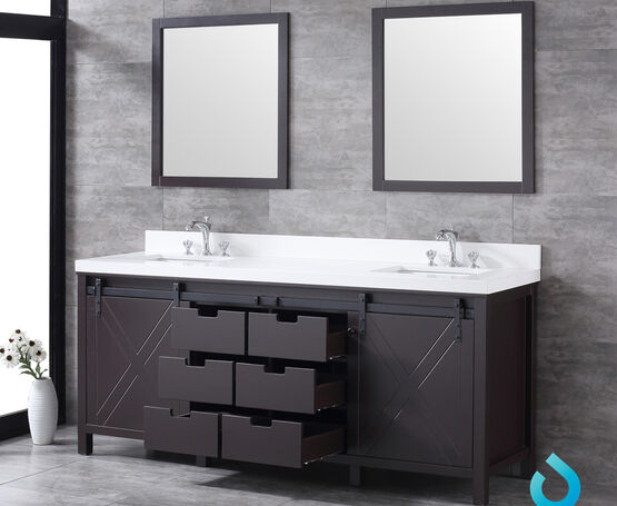 "Lexora Marsyas 80"" - Brown Double Bathroom Vanity, White Quartz Top, White Square Sinks and 30"" Mirrors w/ Faucets"