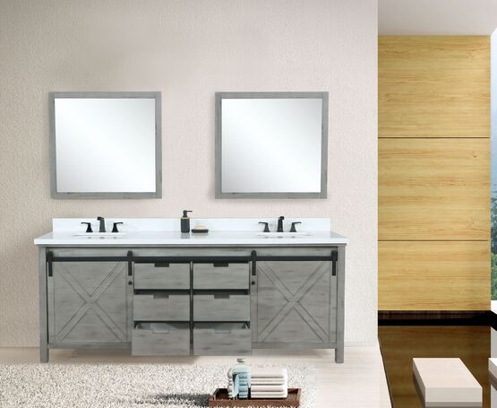 "Lexora Marsyas 80"" - Ash Grey Double Bathroom Vanity Ash Grey, White Quartz Top, White Square Sinks and 30"" Mirrors w/ Faucets"