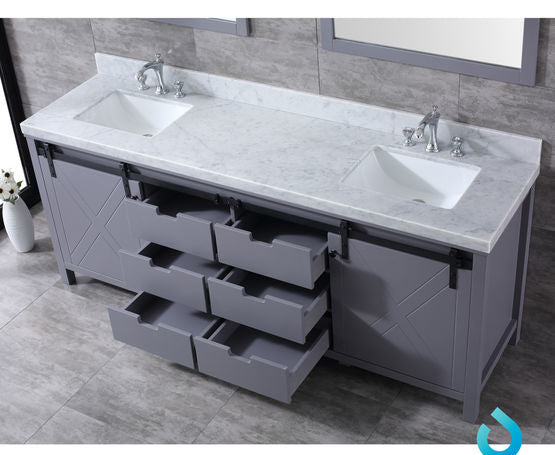 "Lexora Marsyas 84"" - Dark Grey Double Bathroom Vanity, White Carrara Marble Top, White Square Sinks and 34"" Mirrors w/ Faucets"