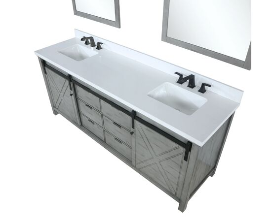 "Lexora Marsyas 84"" - Ash Grey Double Bathroom Vanity, White Quartz Top, White Square Sinks and 34"" Mirrors w/ Faucets"