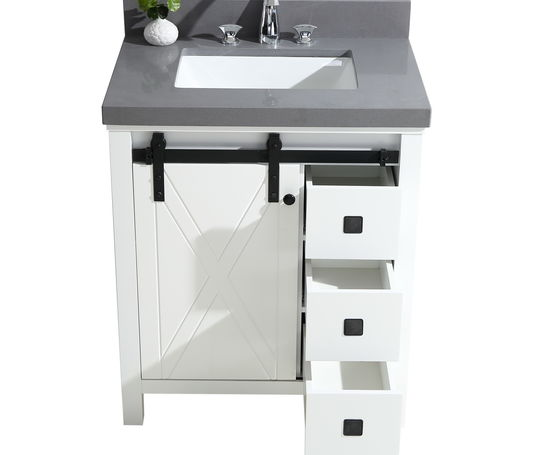 "Lexora Marsyas Veluti 30"" - White Single Bathroom Vanity (Options: Grey Quartz Top, White Square Sink and 28"" Mirror w/ Faucet)"