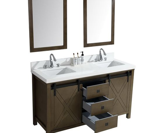 "Lexora Marsyas Veluti 60"" - Rustic Brown Double Bathroom Vanity, White Quartz Top, White Square Sinks and 24"" Mirrors w/ Faucets"