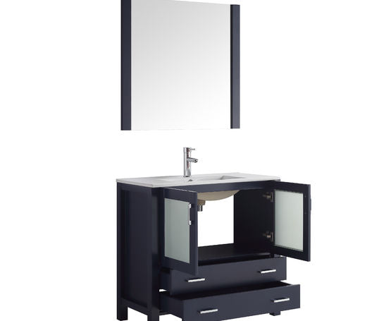"Lexora Volez 36"" - Navy Blue Single Bathroom Vanity, Integrated Top, White Integrated Square Sink and 34"" Mirror w/ Faucet"
