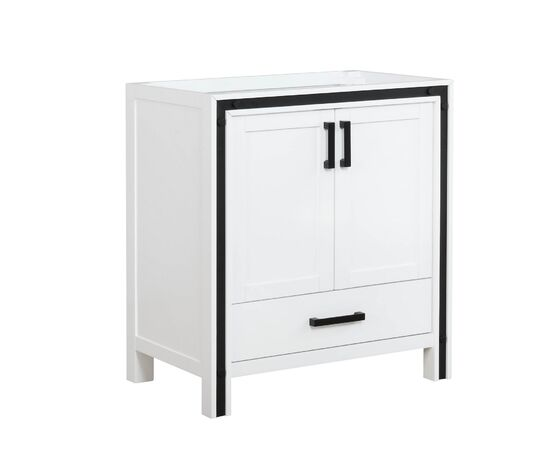 "Lexora Ziva 30"" - White Single Bathroom Vanity, Cultured Marble Top, White Square Sink and 28"" Mirror w/ Faucet"