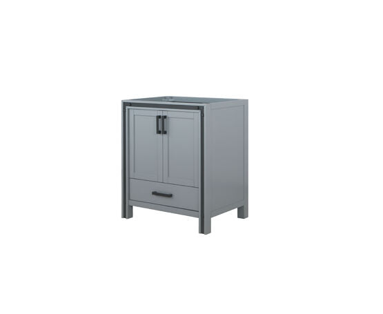 "Lexora Ziva 30"" - Dark Grey Single Bathroom Vanity, Cultured Marble Top, White Square Sink and 28"" Mirror w/ Faucet"