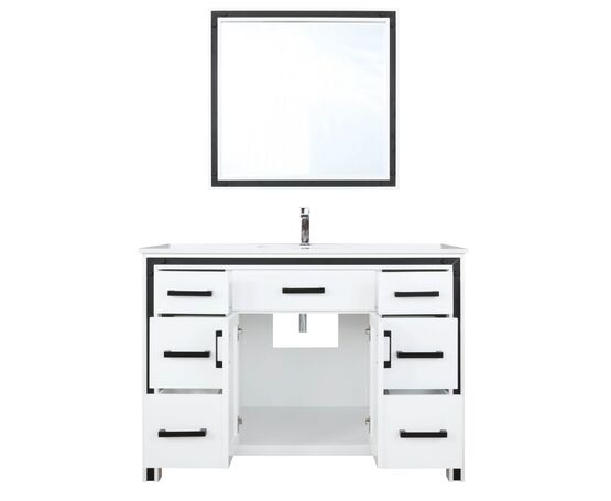 "Lexora Ziva 48"" - White Single Bathroom  Vanity, Cultured Marble Top, White Square Sink and 34"" Mirror w/ Faucet"