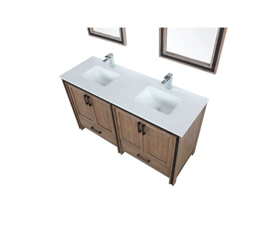 "Lexora Ziva 60"" - Rustic Barnwood Double Bathroom Vanity (Options: Cultured Marble Top, White Square Sink and 22"" Mirrors w/ Faucet)"
