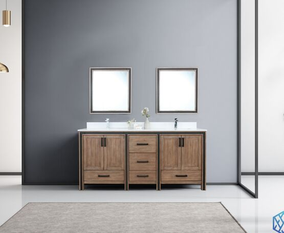"Lexora Ziva 72"" - Rustic Barnwood Double Bathroom Vanity, Cultured Marble Top, White Square Sink and 30"" Mirrors w/ Faucet"